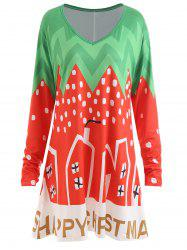 Plus Size Christmas Color Block Tunic Dress -