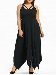 Plus Size Lace Up Handkerchief Maxi Dress -
