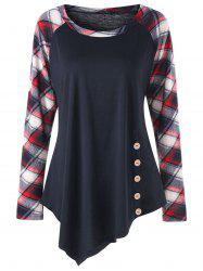 Плюс Размер Raglan Sleeve Plaid Panel Asymmetric Top -