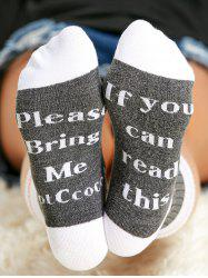 Pair of Letter Graphic Contrast Socks -