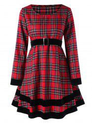 Plus Size Plaid Long Sleeve Dress -