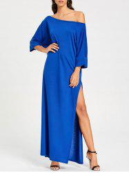 Floor Length High Slit Skew Collar Dress -