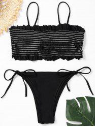 Frill Trim Low Waisted Smocked Bikini Set -