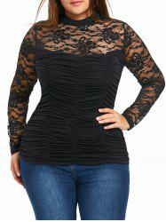 Plus Size Mock Neck Sheer Smocked Top - Black - Xl