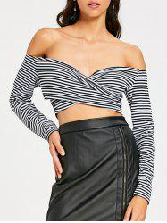 Long Sleeve Open Shoulder Striped Crop Top -
