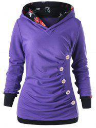 Пуговица Ruched Pullover Hoodie -