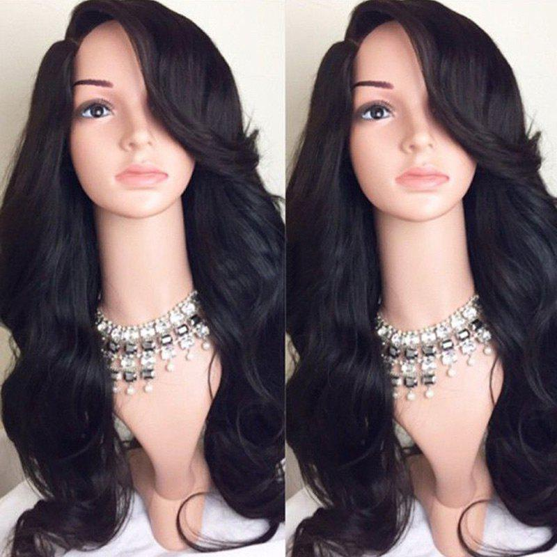 Deep Side Part Long Wavy Synthetic WigHAIR<br><br>Color: BLACK; Type: Full Wigs; Cap Construction: Capless; Style: Wavy; Material: Synthetic Hair; Bang Type: Side; Length: Long; Length Size(CM): 62; Weight: 0.2460kg; Package Contents: 1 x Wig;