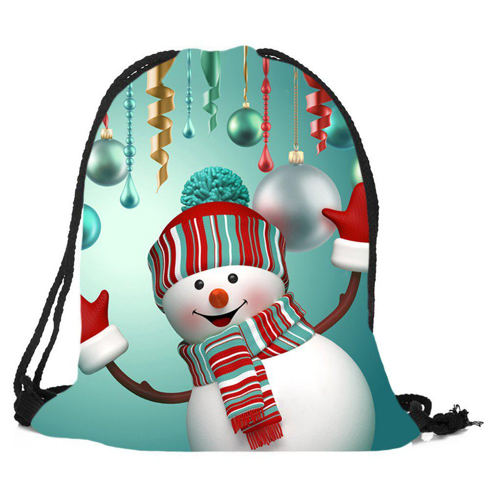 Рождественский снеговик Pattern Drawstring Candy Storage Backbag