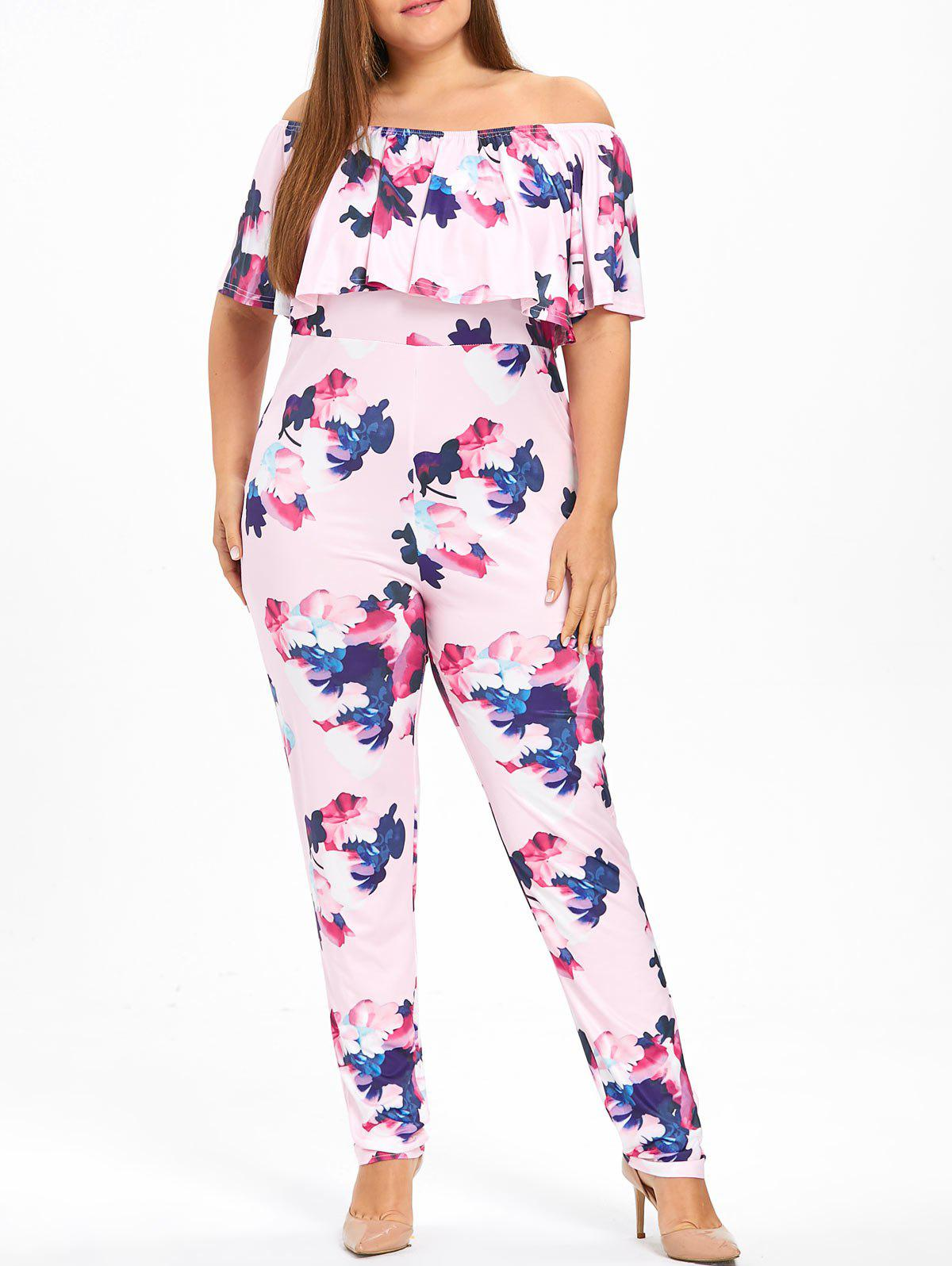Chic Floral Plus Size Ruffle Off The Shoulder Jumpsuit