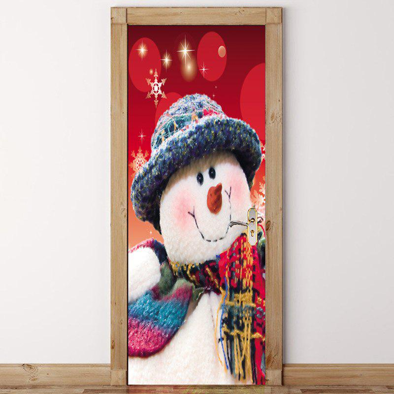 Discount Christmas Home Decor Snowman Printed Environmental Removable Door Stickers