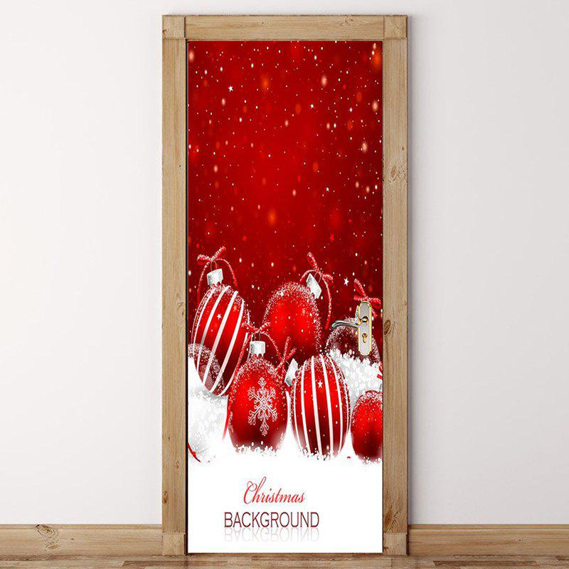 Online Decorative Snowy Christmas Balls Pattern Eco-friendly Door Stickers
