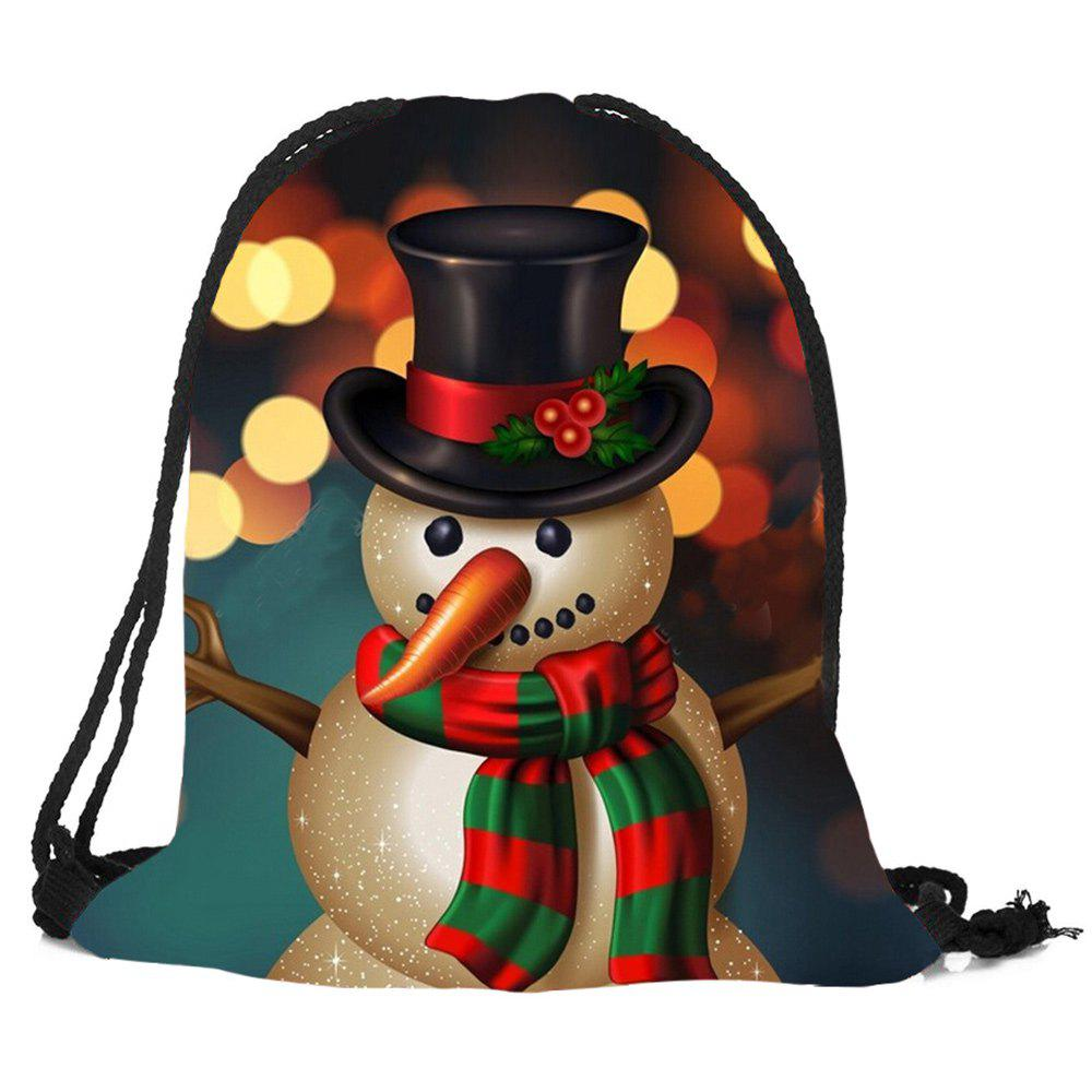 Online Christmas Snowman Printed Drawstring Gift Storage Backbag