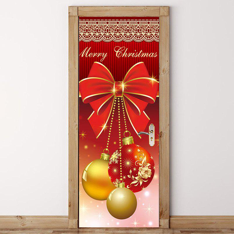 Trendy Environmental Removable Christmas Ornament Balls Printed Door Stickers