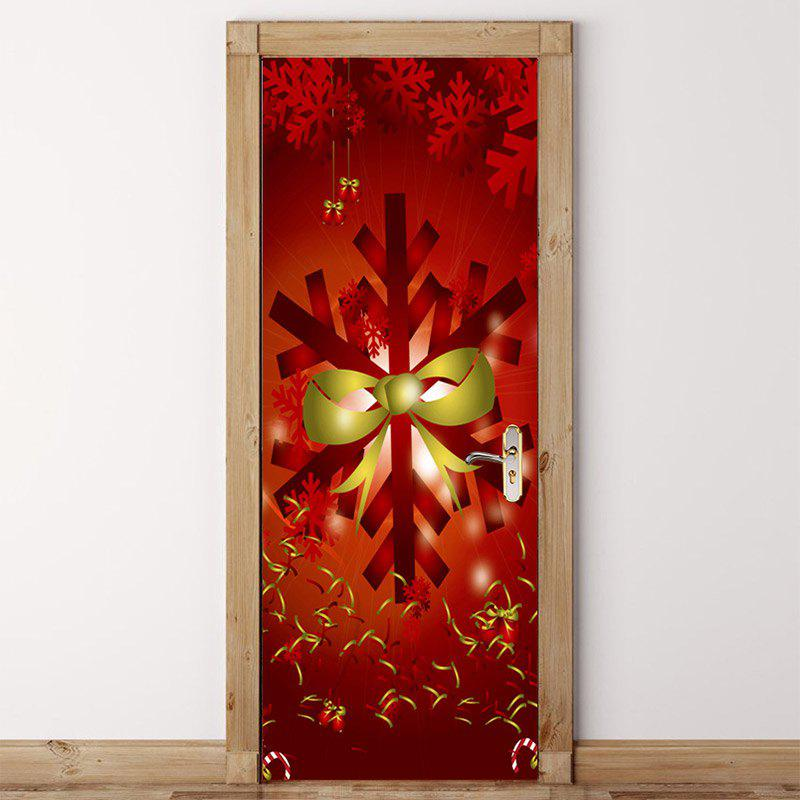 Outfits Christmas Snowflake Bowknot Pattern Environmental Removable Door Stickers