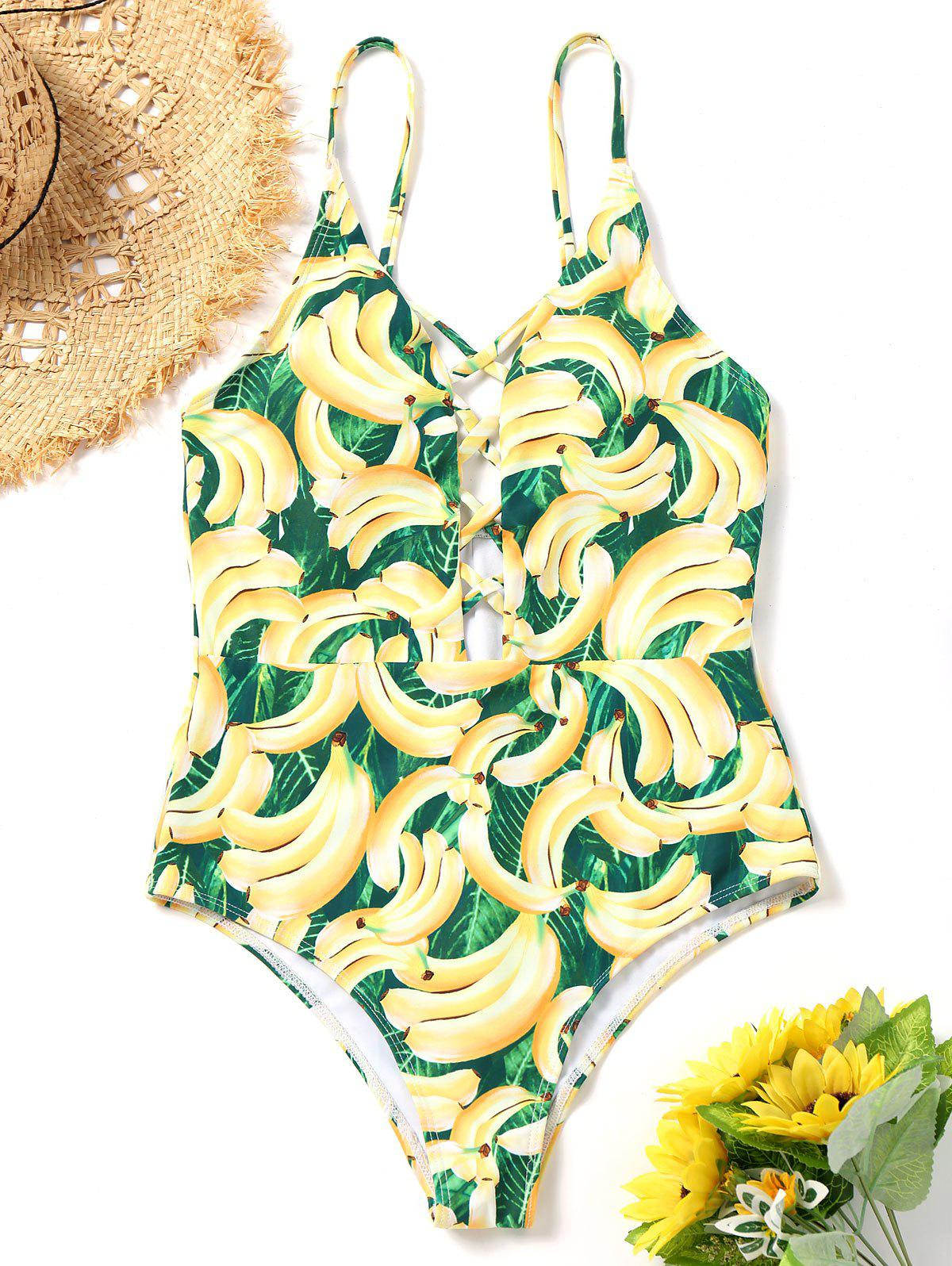 Discount Banana Print Strappy One Piece Swimsuit