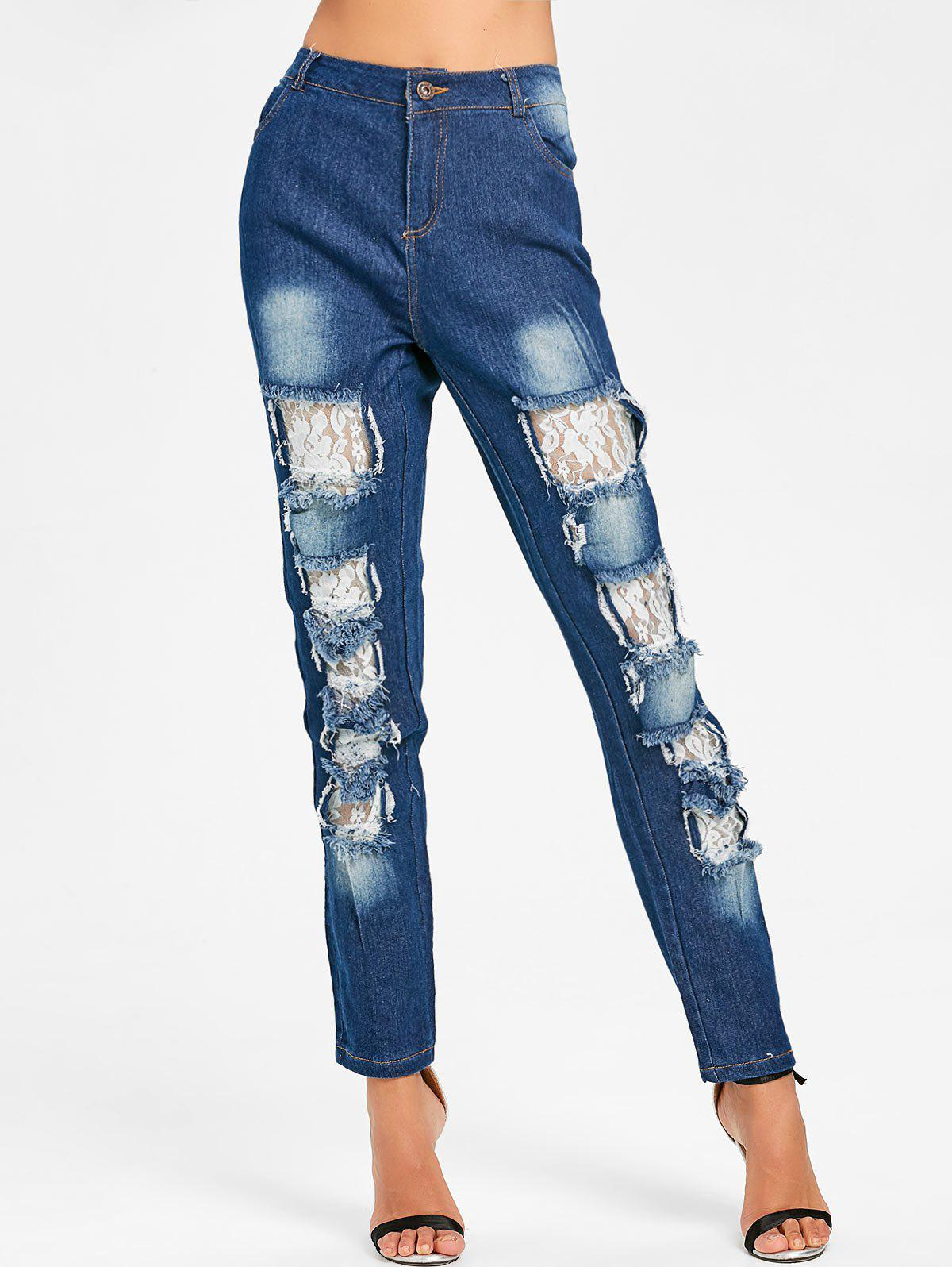 Latest Lace Insert Skinny Distressed Jeans