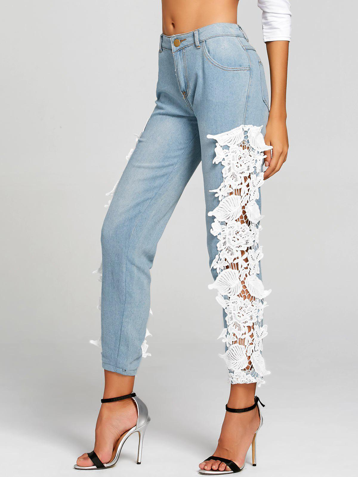 Fancy Light Wash Lace Insert Skinny Jeans