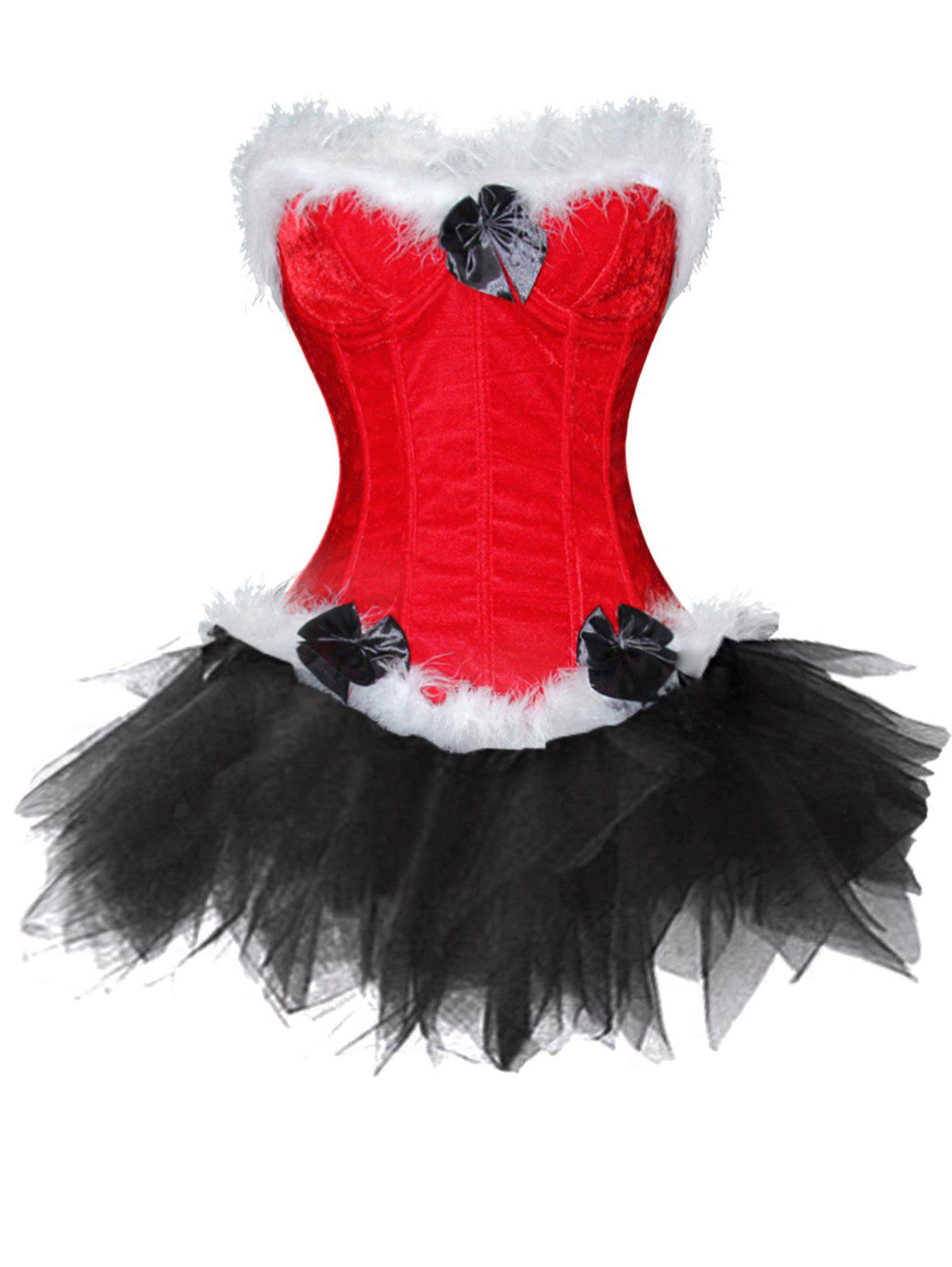 Trendy Christmas  Two Piece Corset Dress