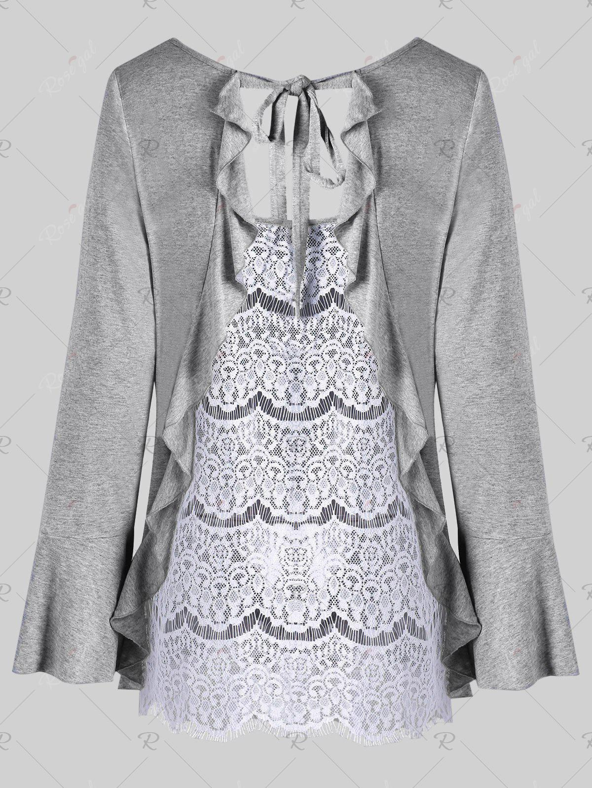 Plus Size Flounced Lace Back TopWOMEN<br><br>Size: 4XL; Color: LIGHT GREY; Material: Rayon,Spandex; Shirt Length: Long; Sleeve Length: Full; Collar: Scoop Neck; Style: Casual; Season: Fall,Spring; Embellishment: Lace; Pattern Type: Others; Weight: 0.3300kg; Package Contents: 1 x Top;