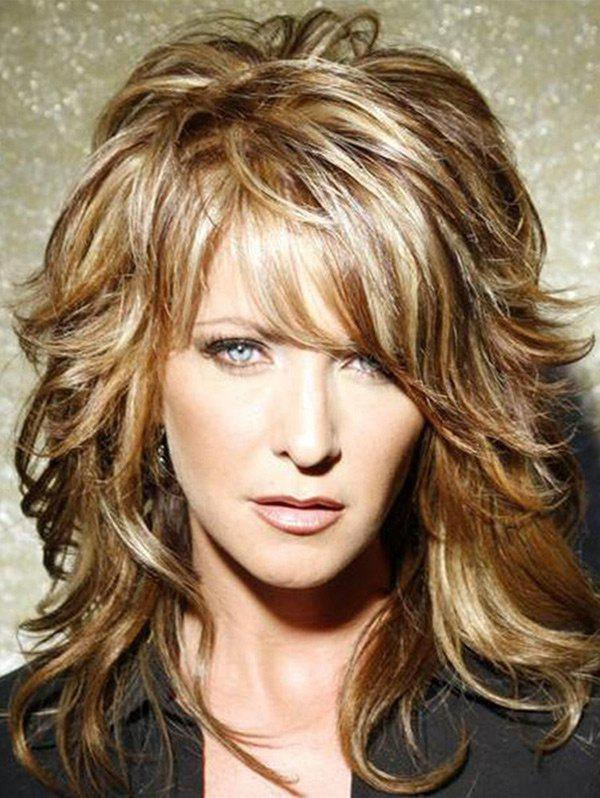Trendy Medium Side Bang Layered Slightly Curly Colormix Human Hair Wig