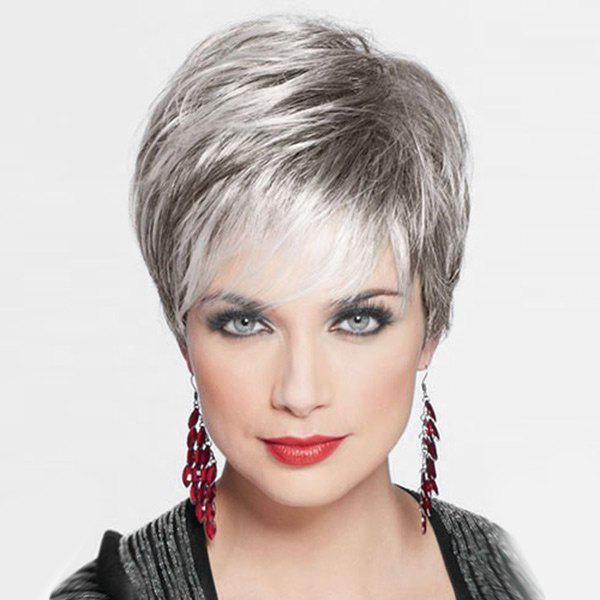 Fancy Short Side Bang Fluffy Layered Straight Human Hair Wig