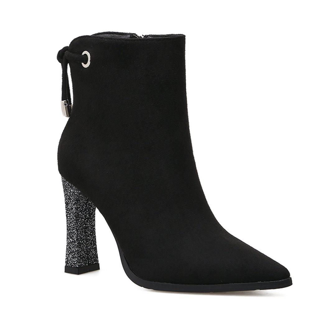 Unique Knotted Back Chunky Heel Ankle Boots