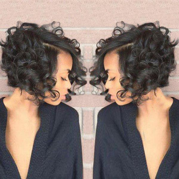 Fashion Short Side Parting Fluffy Curly Human Hair Wig