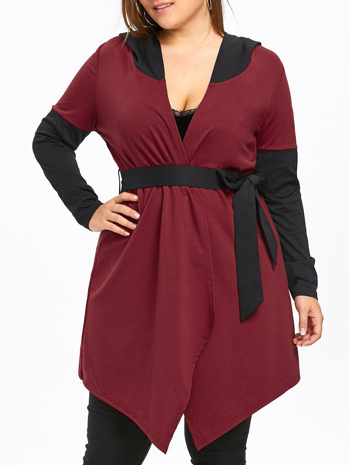 Store Plus Size Hooded Two Tone Coat