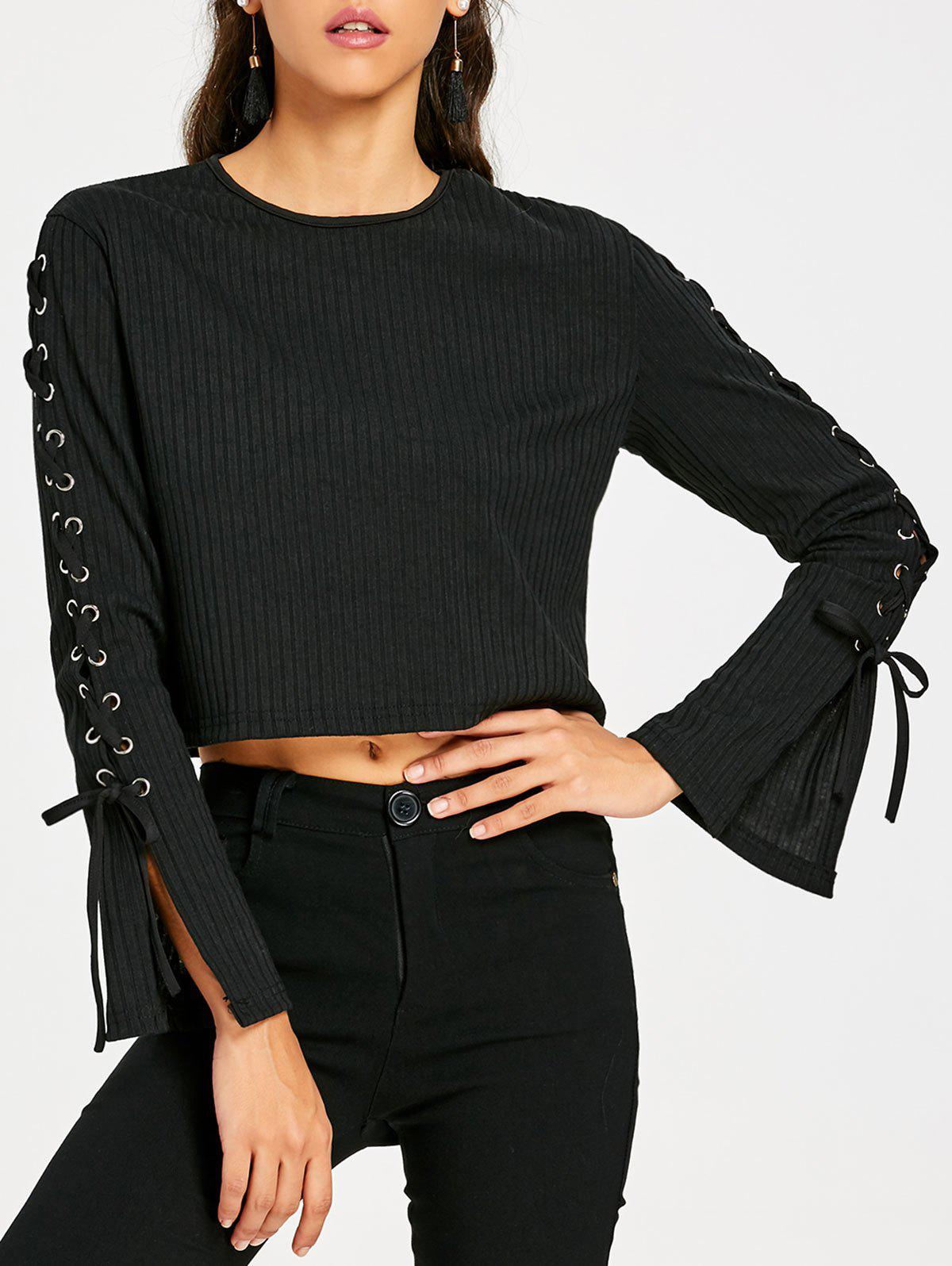 Fancy Ribbed Lace Up Sleeve Crop Top