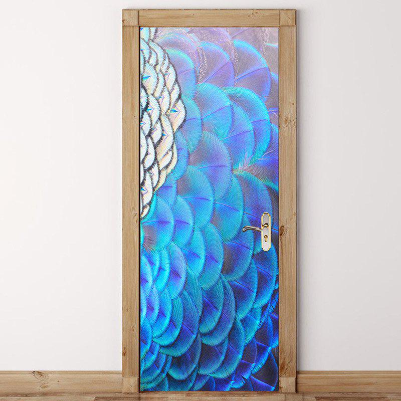 Latest Peacock Opening Screen Pattern Door Art Stickers