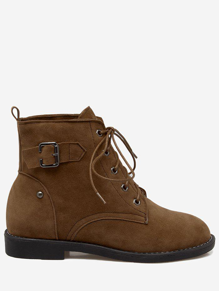 New Lace Up Almond Toe Buckled Ankle Boots
