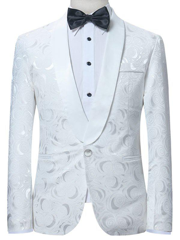 Hot Shawl Collar One Button Jacquard Blazer