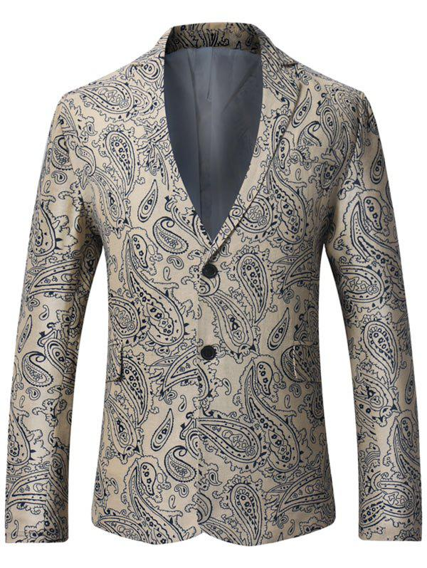 Cheap Lapel Single Breasted Paisley Print Linen Blazer