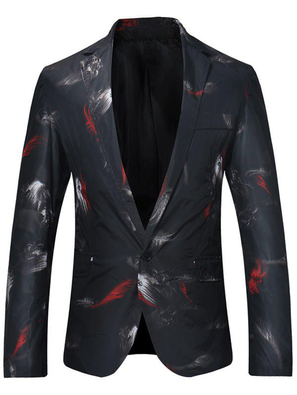 Outfit Feather Print One Button Lightweight Blazer