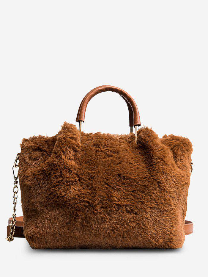Fashion Chain Faux Fur Handbag With Strap
