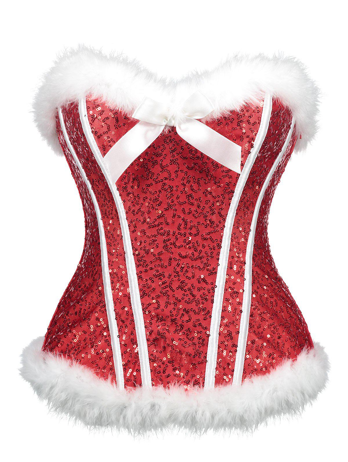Buy Sequined Christmas Feathers Trim Corset