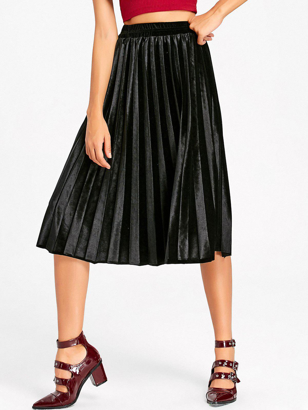 New Velvet High Waisted Midi Pleated Skirt