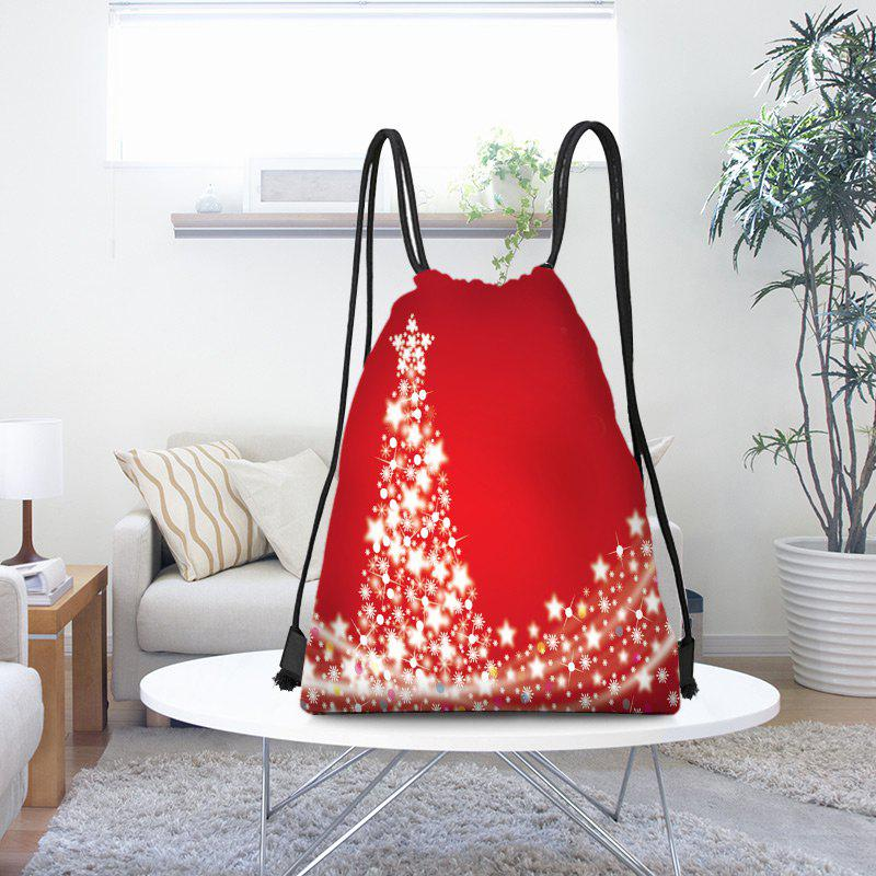 Affordable Snowflakes Christmas Tree Pattern Drawstring Candy Storage Backpack