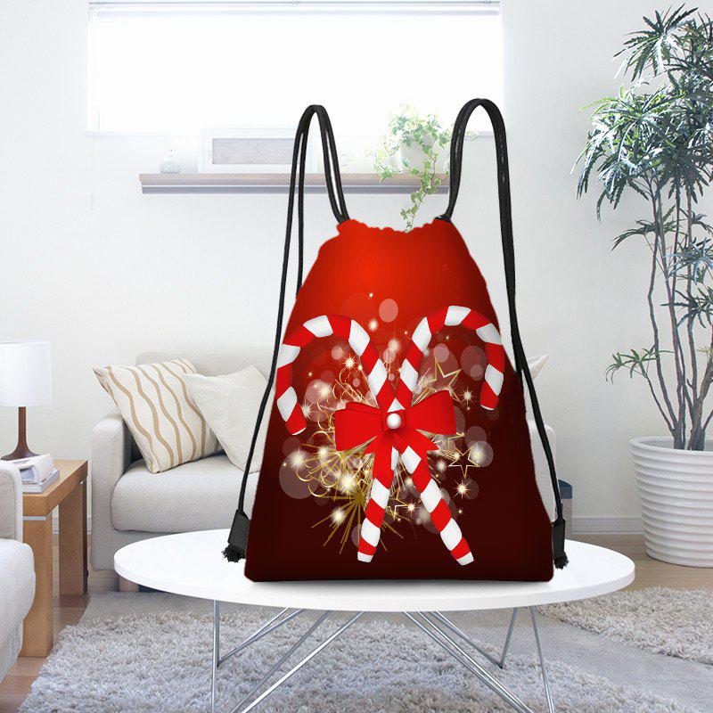 Latest Candy Cane Patterned Drawstring Gift Storage Backpack