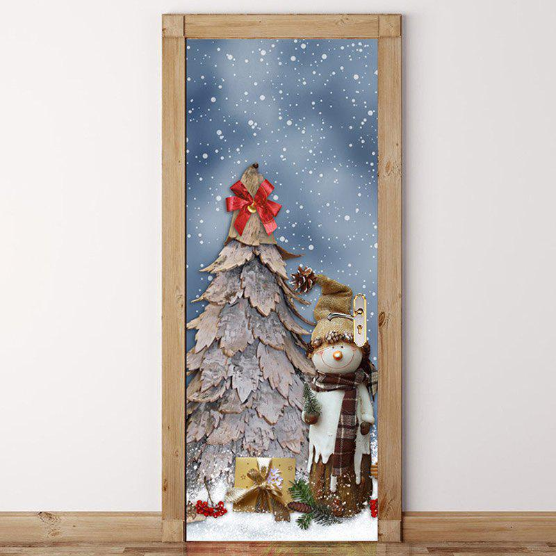 Sale Snowy Christmas Tree Pattern Door Cover Stickers
