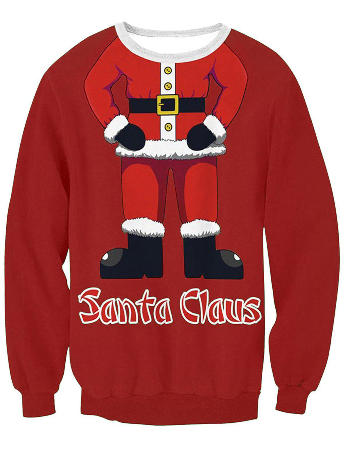 Hot Santa Claus Body Print Pullover Sweatshirt