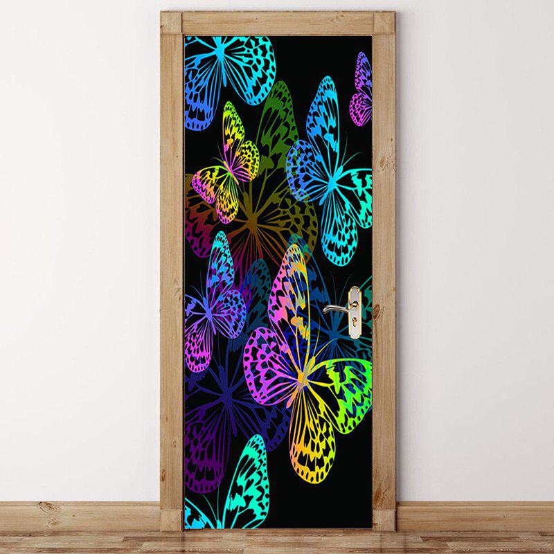 Trendy Colorful Butterfly Pattern Door Cover Stickers