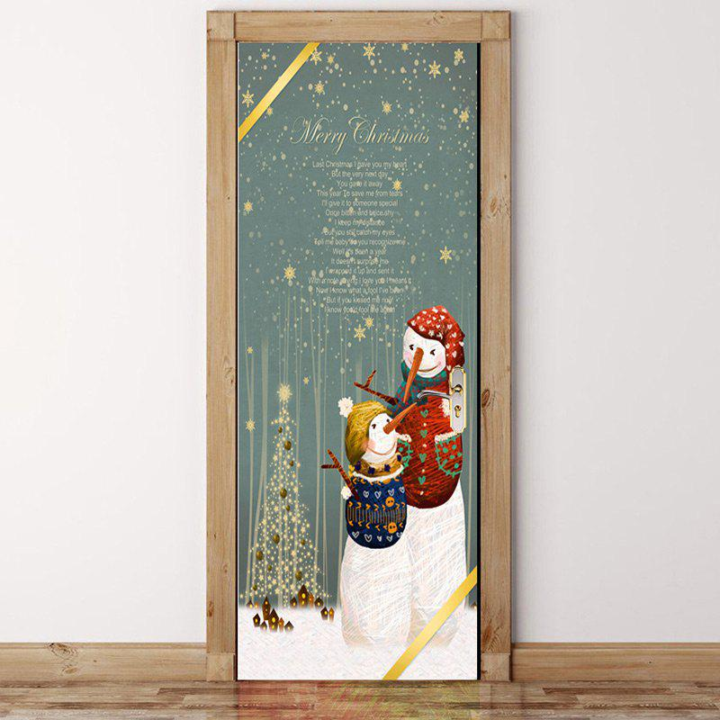 Chic Christmas Letter and Snowman Pattern Environmental Removable Door Stickers