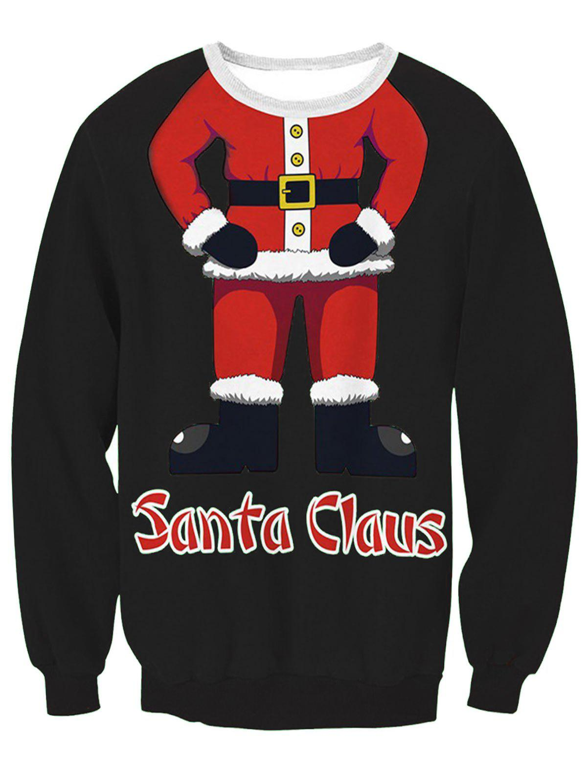 Fancy Santa Claus Body Print Pullover Sweatshirt