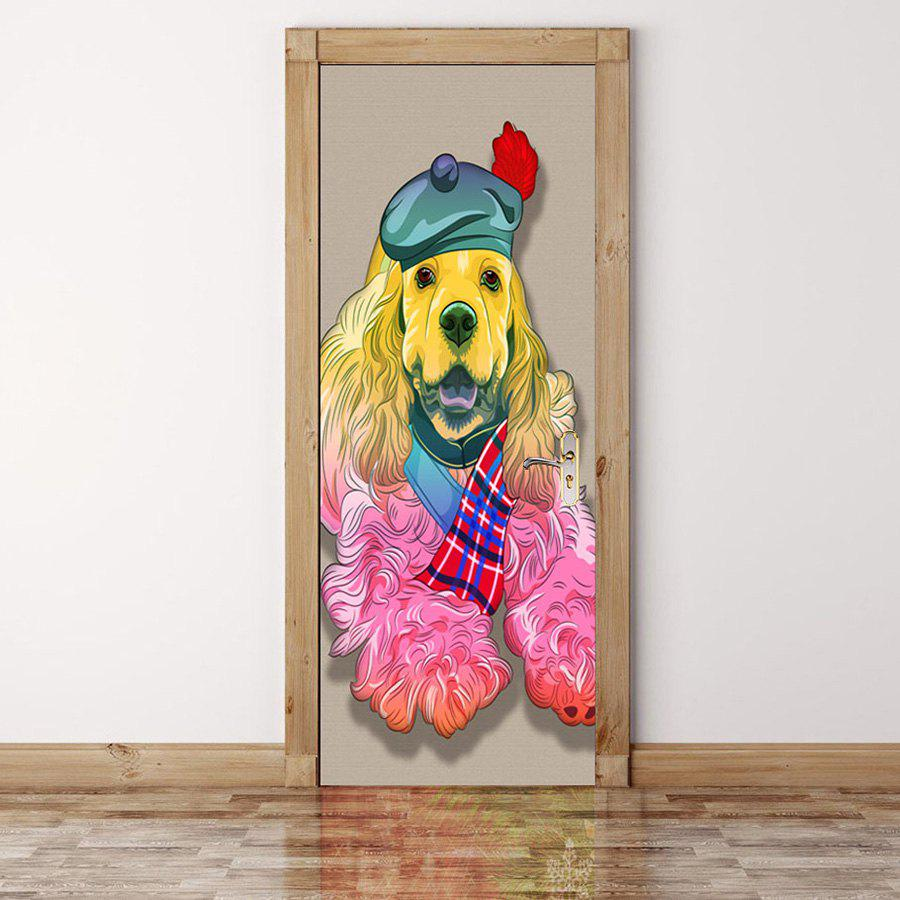 Best Hatted Dog Pattern Door Cover Stickers