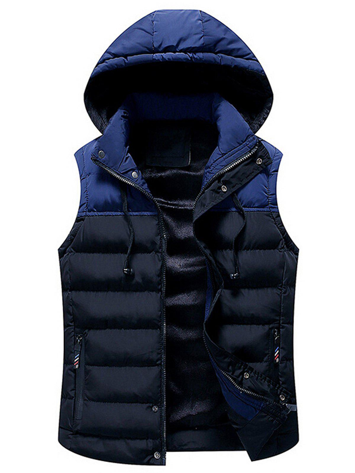 Store Drawstring Color Block Hooded Puffer Vest