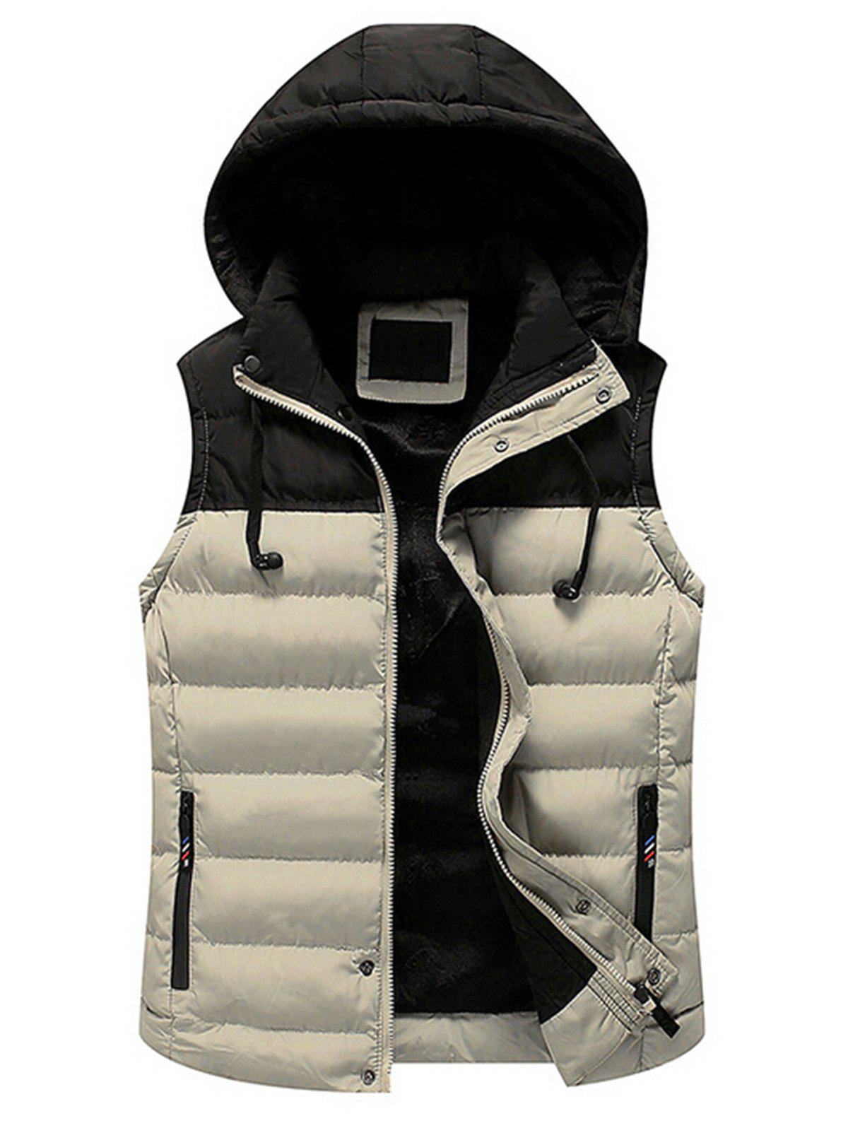 Fancy Drawstring Color Block Hooded Puffer Vest
