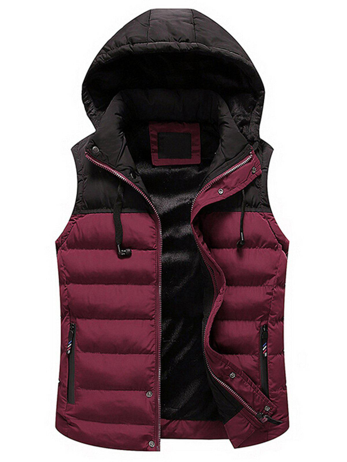 Trendy Drawstring Color Block Hooded Puffer Vest
