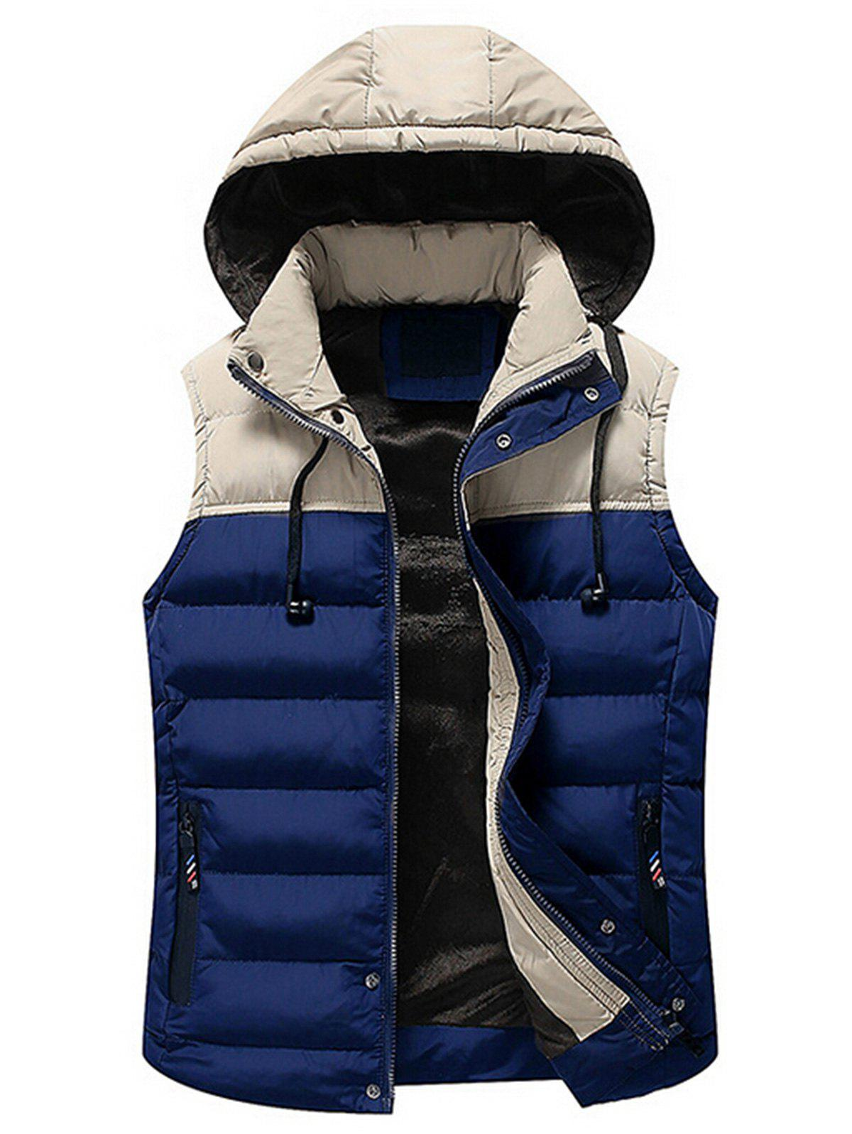 Shop Drawstring Color Block Hooded Puffer Vest