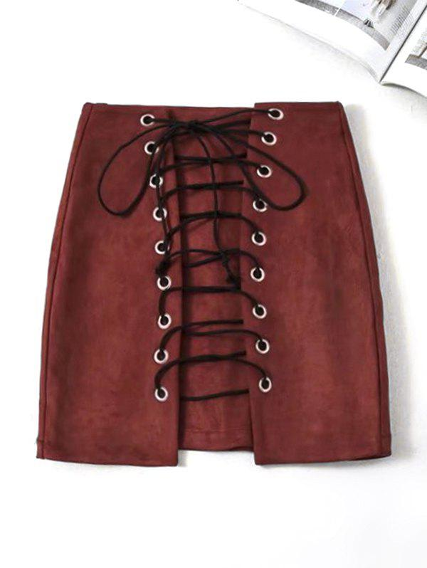 Buy Faux Suede Mini Lace Up Skirt